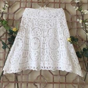 Banana Republic white lace asymmetrical skirt